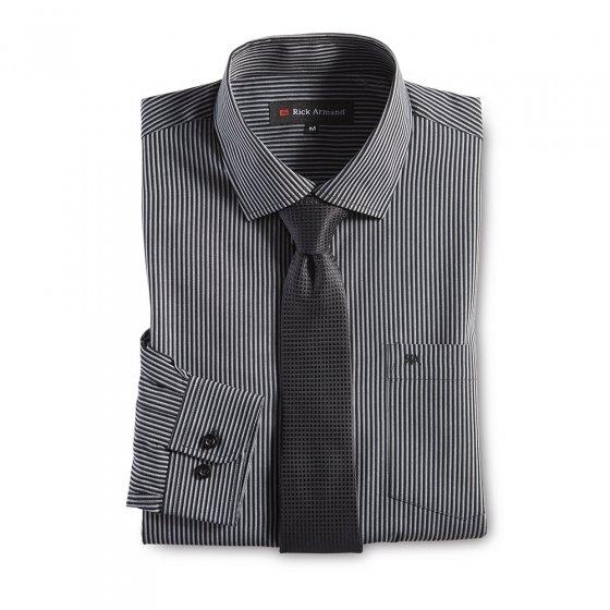 Hemd mit Krawatte, schwarz-ges L | Schwarz-gestreift