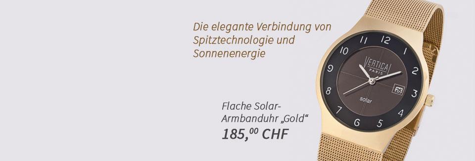 Flache Solar-Armbanduhr